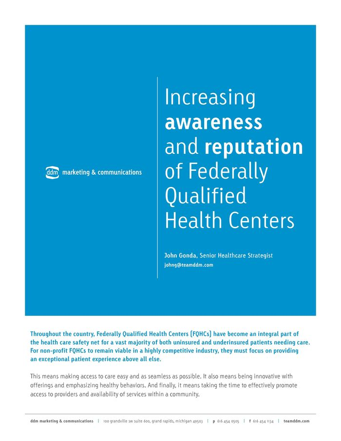 ddm-Increasing awareness and reputation of Federally Qualified Health Centers Whitepaper