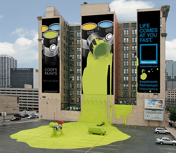 mural outdoor board with painted environment including parking lot