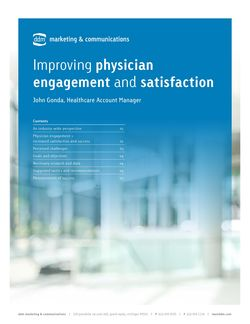 Increasing Physician Engagement & Satisfaction