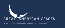 Great American Spaces -logo -white on blue